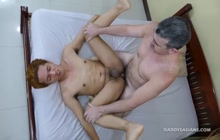 Daddy fucks skinny Asian twink