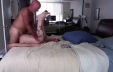 Horny daddy fucking hot bottom bareback