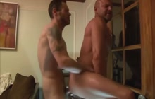 Muscled bald DILF fucked hard