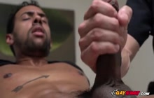 Massage room never felt so good with his Big Black Cock inside this horny officer's mouth.
