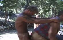 Bareback outdoor ass fucking