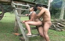 Two Latino studs fucking outdoor