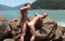 Horny Latino guys fucking on a beach