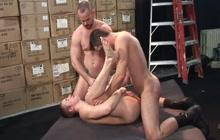 Hardcore threesome bareback fucking