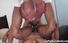 Horny daddies having bareback sex