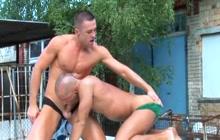 Hot muscled stud barebacks his lover